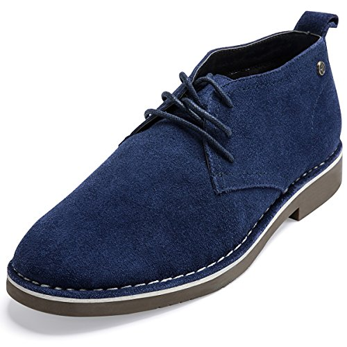 Suede Leather Chukka Boots For Men Modern Lace up Oxford Desert Ankle Booties Navy (Sole Desert Boot)