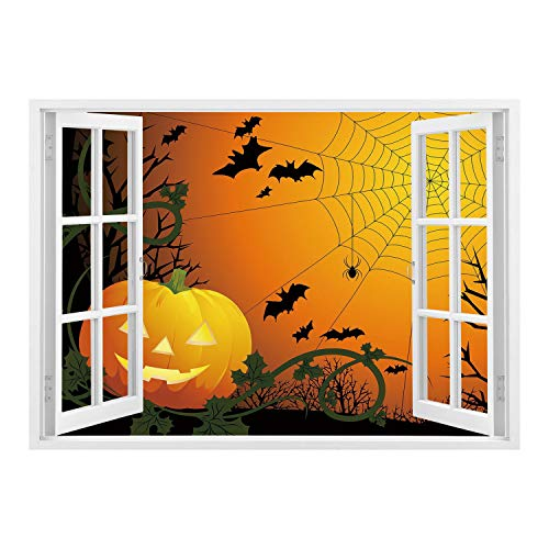 Spider Web Border Roll - SCOCICI Peel and Stick Fabric Illusion 3D Wall Decal Photo Sticker/Spider Web,Halloween Themed Composition with Pumpkin Leaves Trees Web and Bats Decorative,Orange Dark Green Black/Wall Sticker Mural