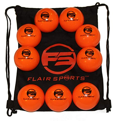 Flair Sports Baseball & Softball Weighted Training Balls for Hitting and Pitching - Improve Power and Technique - Heavies - 1 LB Each (9 Pack - Neon Orange)