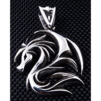 Mens Pendant Dragon Wolf Tattoo .925 Sterling Silver Pendant for Harley Biker Rocker