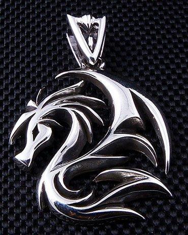 Men's Pendant Dragon Wolf Tattoo .925