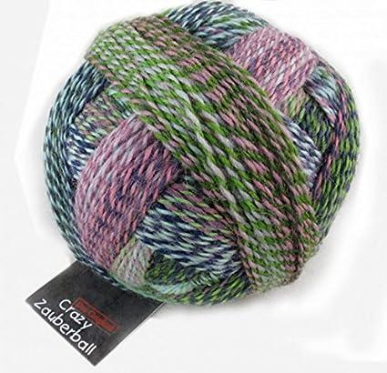 Crazy Schoppel lana para tejer calcetines Zauberball 2170 verde/Heather/rosa/verde -