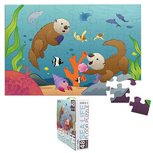 Blue Panda Floor Puzzles for Kids - Otters and Ocean Fantasy - Jumbo Jigsaw Puzzle, Educational Game for Family and Kindergarten, Age 3-5, 48-Piece, 1.9 x 2.9 Feet ()