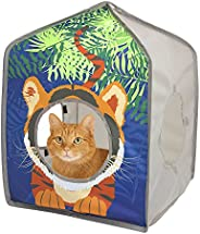 Kitty City Casa de brinquedo de cabana de safári, cubo de gato, canil, cama de gato, casa de gato na selva