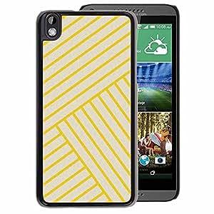 A-type Arte & diseño plástico duro Fundas Cover Cubre Hard Case Cover para HTC DESIRE 816 (Yellow Golden Tiles Yellow Bling Lines)