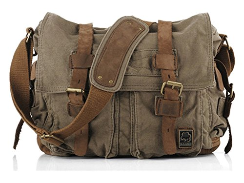 (Sechunk Vintage Military Leather Canvas Laptop Bag Messenger Bags Medium)