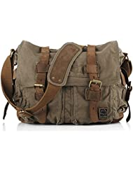 Sechunk Canvas Leather Messenger Bag Shoulder Bag Cross Body Bag For Men Military Travel Women School Boys Girls...