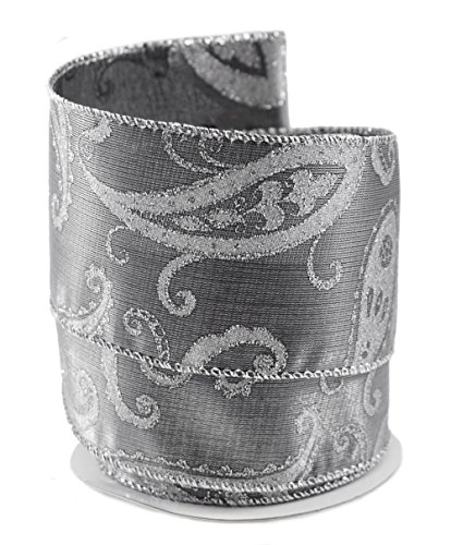 Paisley Silver-colored Satin Wired Ribbon #40 - 2.5