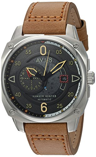 AVI-8 Men's 'Hawker Hunter' Japanese Automatic Stainless Steel and Leather Aviator Watch, Color:Brown (Model: AV-4043-01)