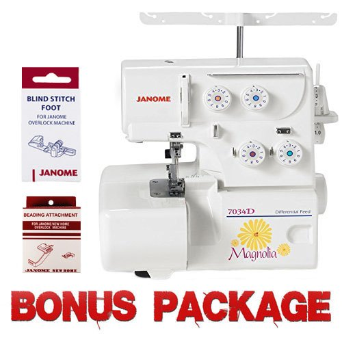 Great Features Of Janome Magnolia 7034D Serger Sewing Machine w/2-Piece