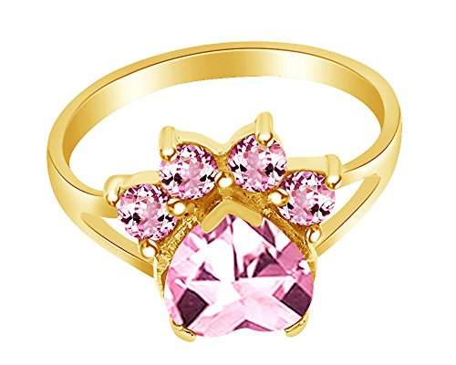 (Wishrocks Heart & Round Cut Simulated Tourmaline Paw Print Ring in 14K Yellow Gold Over Sterling Silver)