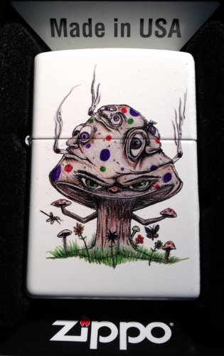 Zippo-Custom-Lighter-Smoking-Mushroom-Shroom-Psychedllic-Eyes-Faces-White-Matte-Limited-Edition-Very-Rare