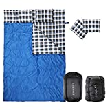 Double Sleeping Bag Cotton Flannel, Waterproof Outdoor Backing Sleeping Bag with 2 Pillow and Compression bag, Camping Envelope Sleeping Bag For Adults & Kids - Camping Gear Equipment, Traveling
