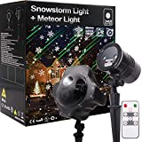Christmas Outdoor Light Combo Meteor Shower Laser Light Projector and Snowstorm Light Snow Flake Falling Projector for Halloween Xmas Wedding Birthday Party Landscape Garden Yard House Home Decoration Night Watch