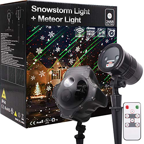 Christmas Light Projector, Galaxy Meteor Shower Projector and Snowstorm Light Snow Flake Falling Projector, for Halloween Xmas Wedding Birthday Party Landscape Garden Yard House Home Decoration (Best Christmas Light Projector)