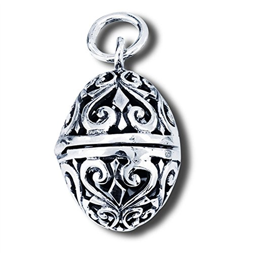 (Filigree Egg Locket Pendant .925 Sterling Silver Detailed Curl Scroll Charm Jewelry Making Supply Pendant Bracelet DIY Crafting by Wholesale Charms)