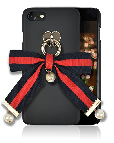 iphone 8 / 7 Fashion Case [HandMade Stripe Ribbon Series] Silky SF Coating Hard PC [Detachable Ring, Ivory Faux Pearl] Ultra Slim, Light Weight, Apple iphone 7/8 Cover (Navy/Red/Stripes) Ribbon Cell Phone Case