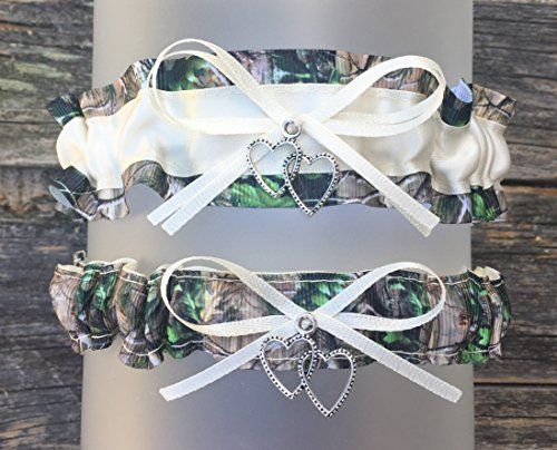 Realtree Camouflage Ivory Satin Wedding Bridal Garter SET - Double Heart (Camo Garter)