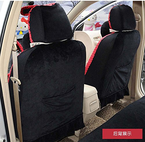 Best of Hello Kitty 18pcs Red+black Winter Comfortable Universal Car Seat Covers Car Steering Wheel Cover