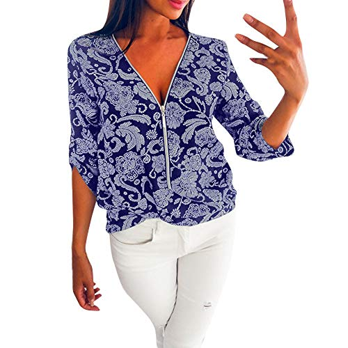 (FORUU 2019 Surprise Best Gift for Girlfriend Lover Wife Party Under 5 Womens Casual Tops Shirt Ladies V Neck Zipper Loose T-Shirt Blouse Tee Top)