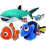 Ty Beanie Buddies Finding Dory Fish NEMO, DORY, & Shark DESTINY Set of 3 MED Size Plush Toys & Stingray Bonus Sticker