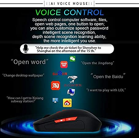 yf Mouse V6 2.4GHz 1200DPI 7-Keys Wireless Optical Mouse with Micro USB Receiver Black Support Intelligent Translation /& Voice Commands