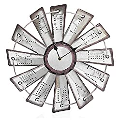 Besti Rustic Metal Windmill Wall Clock (14.5) Vintage Country Farmhouse Decor for Kitchens, Living Rooms | Embossed Roman Numeral Numbers | Battery Operated