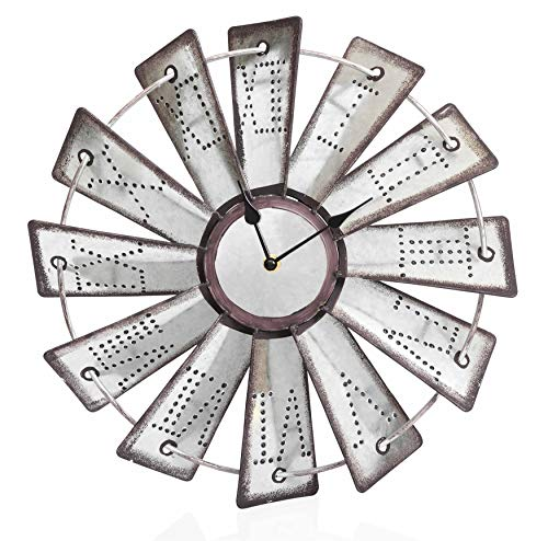 """Besti Rustic Metal Windmill Wall Clock (14.5"""") Vintage Country Farmhouse Decor for Kitchens, Living Rooms   Embossed Roman Numeral Numbers   Battery Operated"""
