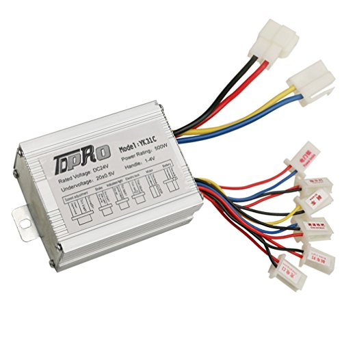 JCMOTO 24V 500W Brush Speed Motor Controller for Electric Scooter Bicycle e Bike Tricycle (1 500w Generators)