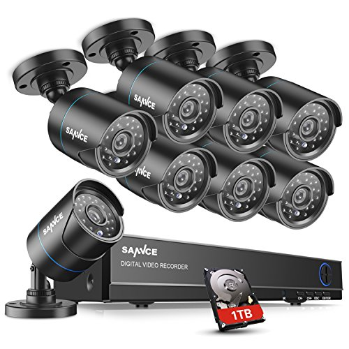 SANNCE 8CH 1080N Security Camera System with 1TB Hard Drive and (8) 720P Night Vision Surveillance Cameras, IP66 Weatherproof , P2P Technology/E-Cloud Service, QR Code Scan Remote Access