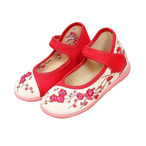 KVbaby Mädchen Mary Jane Gestickte Blume Halbschuhe Anti-Rutsch Weiches Sole Prinzessin Schuhe Baby Ballerina Taufschuhe Rot