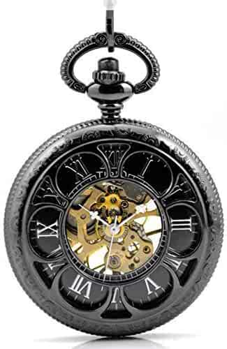 Valentine Day's Gift Tirio Magic Roman Half Hunter Black Steel Hollow Skeleton Hand Wind Mechanical Pocket Watch Long Chain