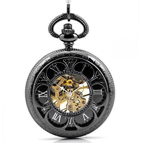 Valentine Day's Gift Tirio Magic Roman Half Hunter Black Steel Hollow Skeleton (Mens Steel Mechanical Watch)