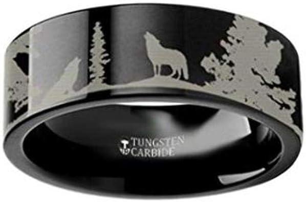 Thorsten Wildlife Stag Deer Elk Animal Antlers Print Pattern Ring Black Tungsten Ring 10mm Wide Wedding Band from Roy Rose Jewelry