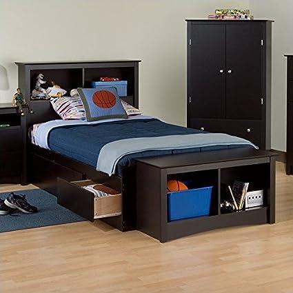 Prepac Black Sonoma Twin XL Bookcase Platform Storage Bed & Amazon.com: Prepac Black Sonoma Twin XL Bookcase Platform Storage ...