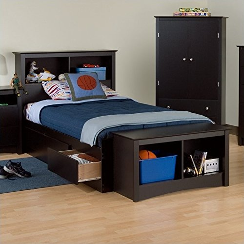 Prepac Black Sonoma Twin XL Bookcase Platform Storage Bed