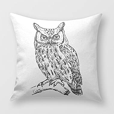 Black And White Owl Pillow Cover for Sofa or Bedroom