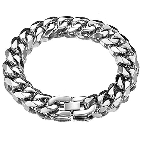 Jxlepe Cuban Link Chain Bracelet Xxxtentacion Adjustable Choker with Tail Hip Hop Miami 15mm Big Stainless Steel Curb Rapper Necklace for Men (8)