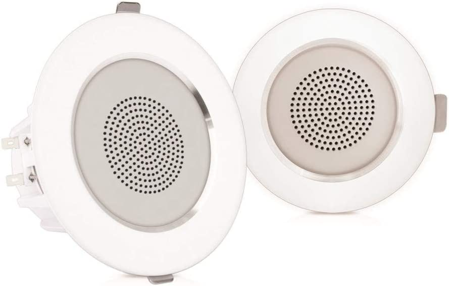 """Pyle 4"""" Pair Flush Mount in-Wall in-Ceiling 2-Way Home Speaker System Built-in LED Lights Aluminum Housing Spring Clips Polypropylene Cone & Tweeter 2 Ch Amplifier 160 Watts (PDICLE4)"""