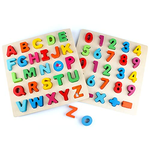 Jamohom Wooden Puzzles for Toddlers, 2 Pack Chunky Wooden Peg Board Alphabet Puzzles with Colorful Fruit Animal Vegetables Pattern, Educational Learning Toy for Kids Age 1-4.