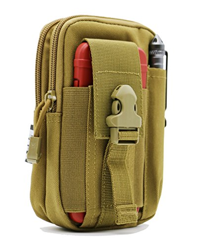 LefRight Tactical Molle Pouch EDC Utility Gadget Belt Waist Bag with Smart Phone Holster Holder for iPhone 6s Plus (Khaki) ()