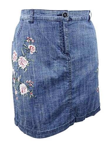 Karen Scott Womens Plus Denim Embroidered Skort Blue 20W - Embroidered Denim Skort