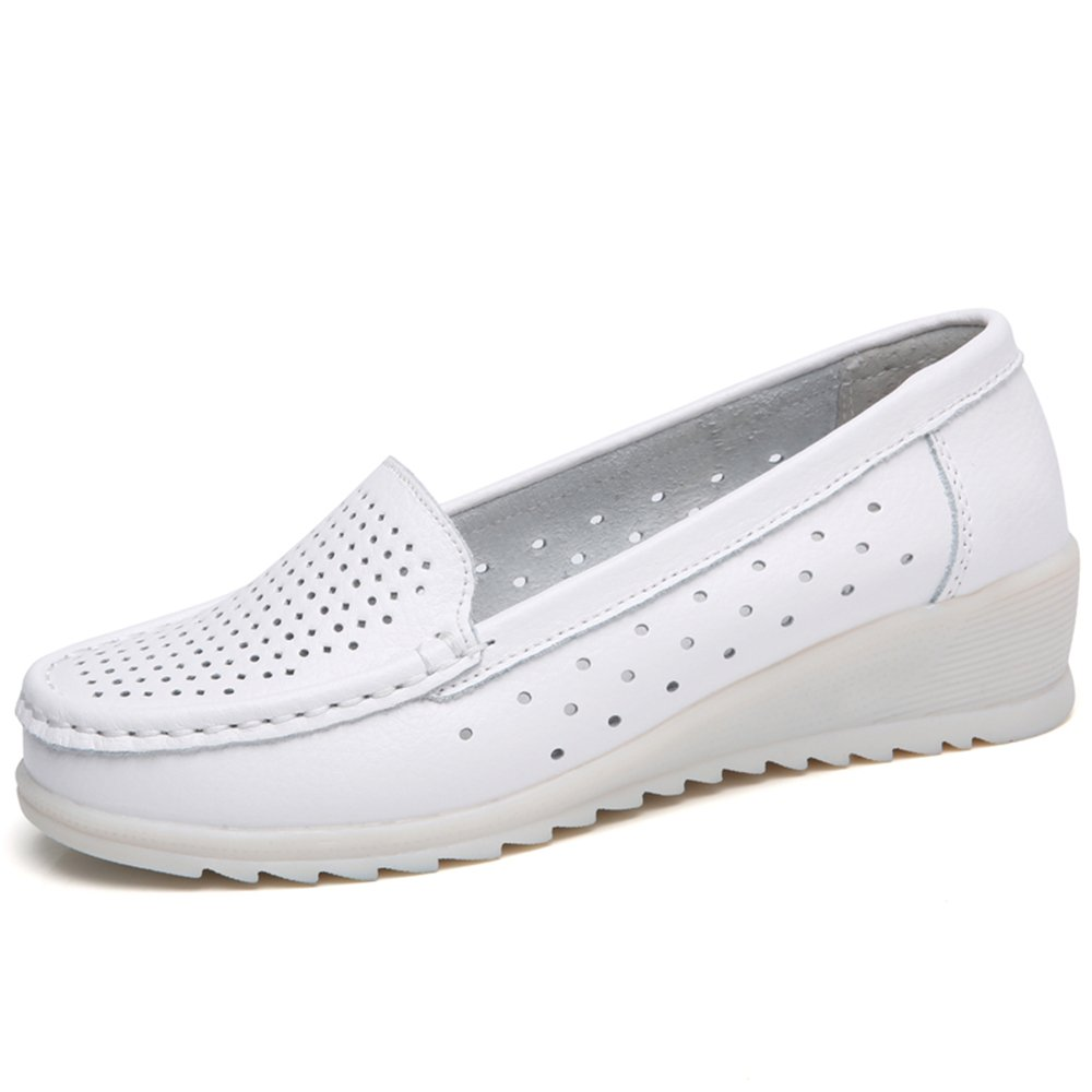 ZYEN ZYEN-ZFXY06616loukongbaise36 Women Nurse Shoes All White Slip On Wedges Sneakers Comfortable Nursing Work Leather Loafers White Hollow 6 B(M) US