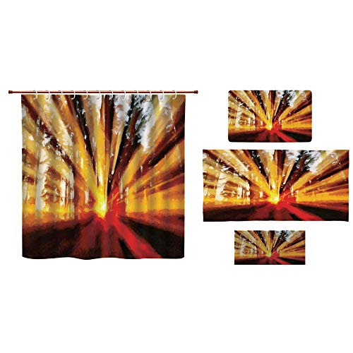 Bathroom 4 Piece Set Shower Curtain Floor mat Bath Towel 3D Print,Sunbeams Lighting Through Trees at Sunset,Fashion Personality Customization adds Color to Your Bathroom.