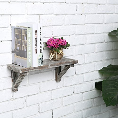 Rustic Torched Wood Wall-Mounted Storage Display Shelves with Wooden Brackets, Set of 2 by MyGift (Image #3)