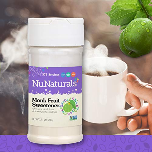 - NuNaturals All Natural Pure Monk Fruit Extract Sugar Free Sweetener, Pure Extract Powdered, Zero Glycemic Index, 571 Servings (.71 oz)