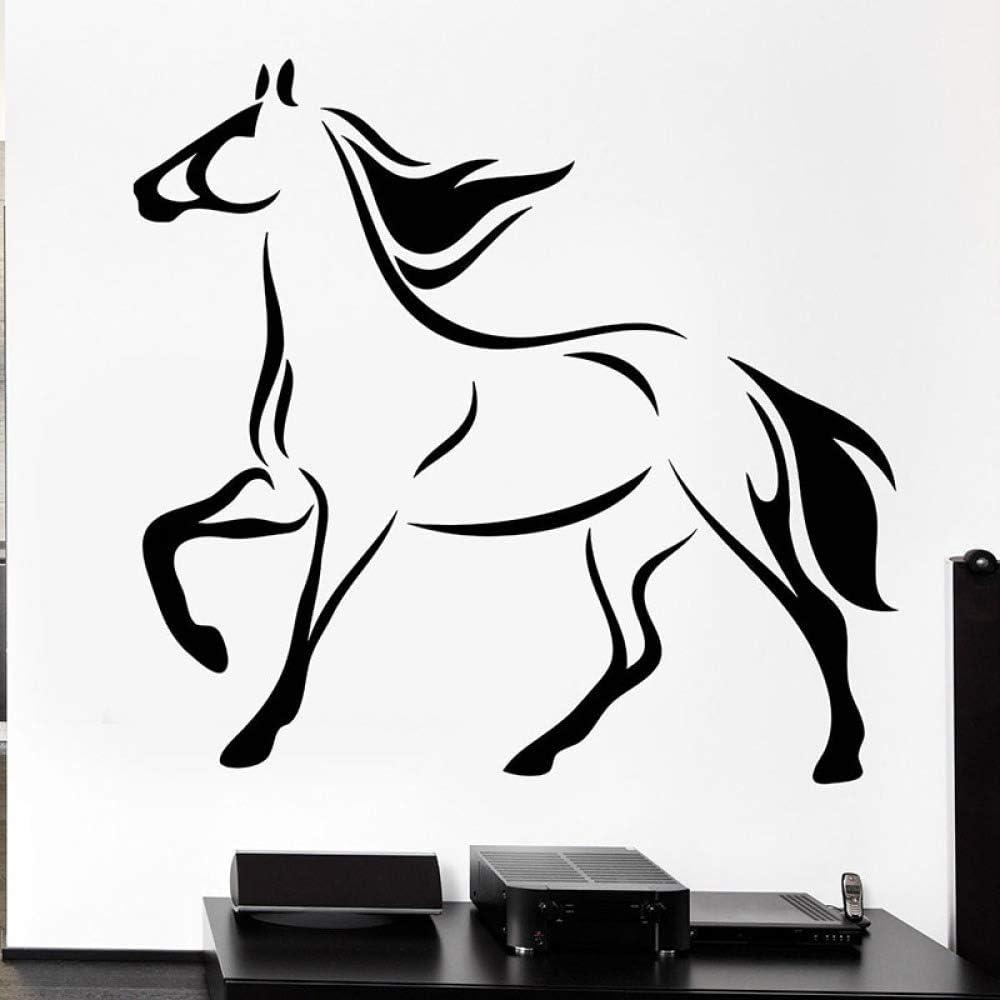 JXGG Tatuajes de Pared Cascos de Caballo de Cola Pegatinas de Vinilo Animal Animal Mural de Arte móvil para la decoración del hogar del Dormitorio 56X59 cm
