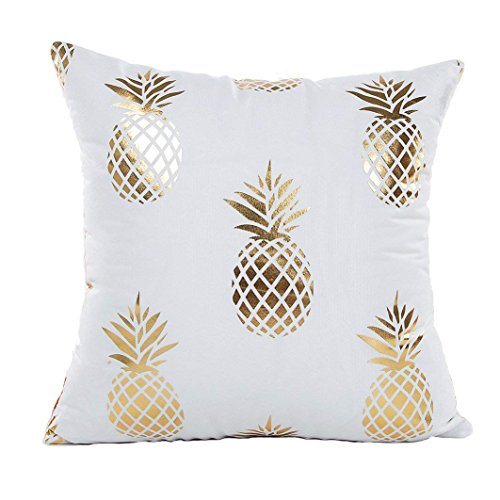 (Monkeysell Golden Pineapple Decorative Throw Pillow Cover Design Zippered Flannel Cotton Cushion Cover Sofa Home Pillowcases 18x18 Inch)