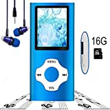 MP3 Player / MP4 Player, Hotechs MP3 Music Player 16GB Memory SD Card Slim Classic Digital LCD 1.82'' Screen FM Radio, ¡­ (16GB-Blue-09.)