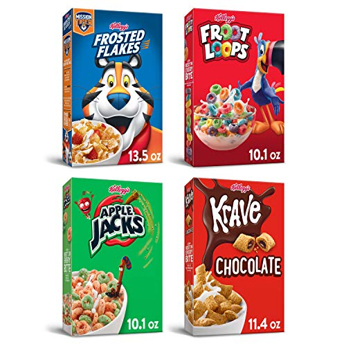Kellogg's Breakfast Cereal Variety Bundle - Froot Loops 10.1oz, Frosted Flakes 13.5 Oz, Krave 11.4oz, & Apple Jacks 10.1oz, 45.1 Oz